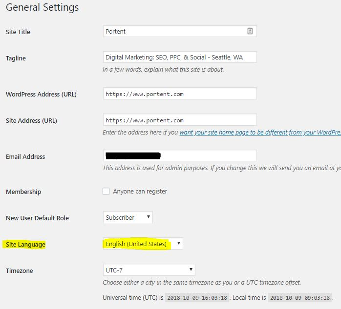 WordPress Language Settings