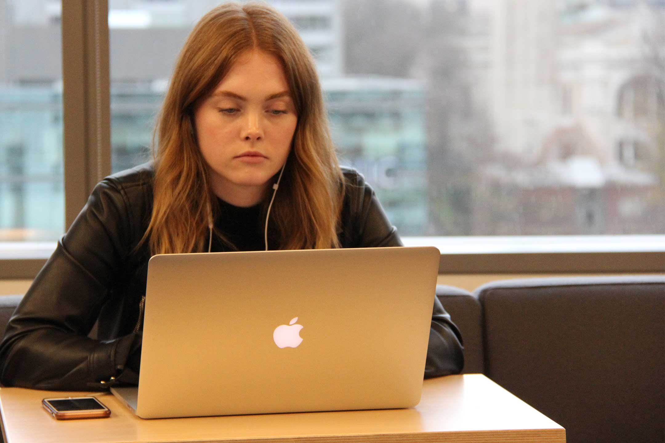 Jessica Taylor of Portent a digital marketing agency works intently on a project