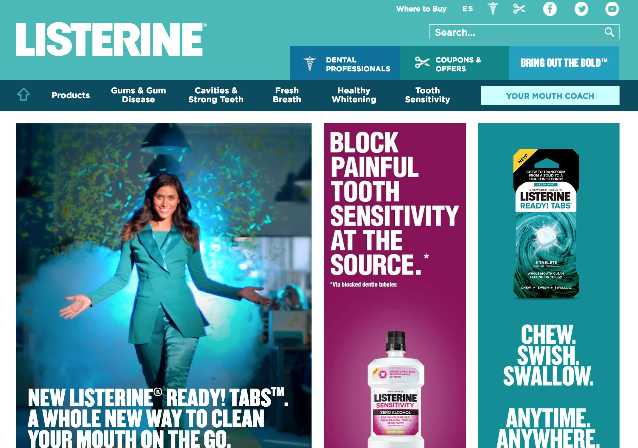 Listerine Homepage Nav Labels