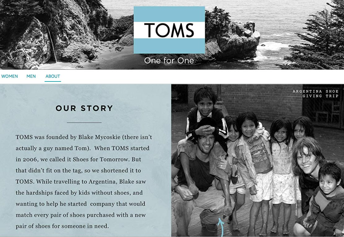 TOMS Brand Story Amazon Store