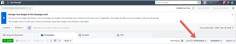 Facebook ads manager columns