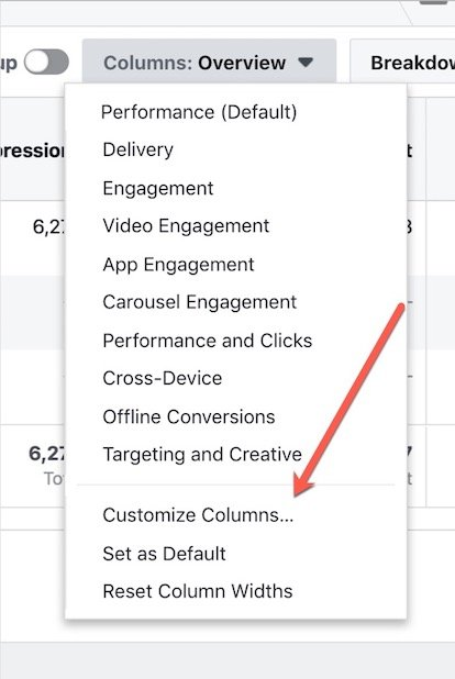 Facebook ad manager customize columns