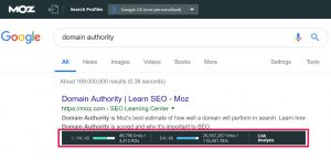 mozbar domain authority score in google serp