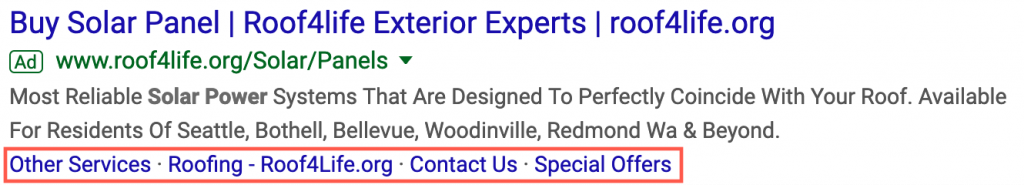 Example of Google Ads Ad Extensions