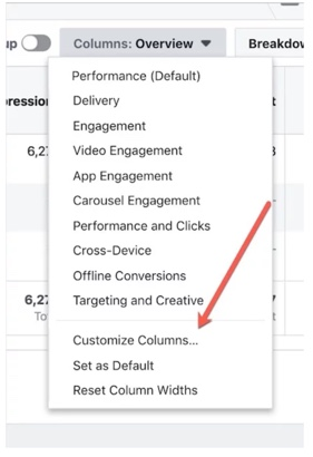 Screen shot showing how to locate Customize Columns option in Ads Manager