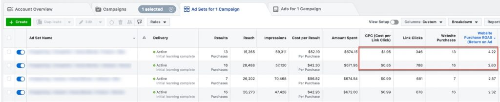 Screen Shot of Facebook Attribution Windows in Ads Manager