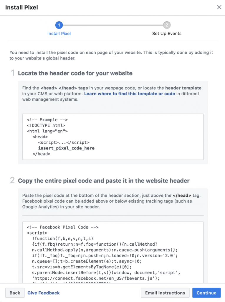 Facebook Page View Pixel Code Installation Screen Shot