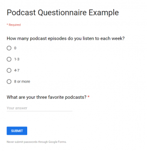 Example of a podcast survey form