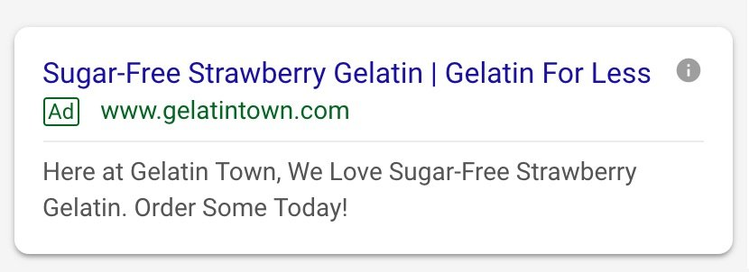 Example of improved ad relevance for an online gelatin retailer
