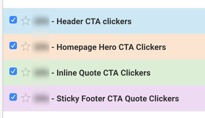 Screenshot showing multiple micro conversion segments created for each CTA