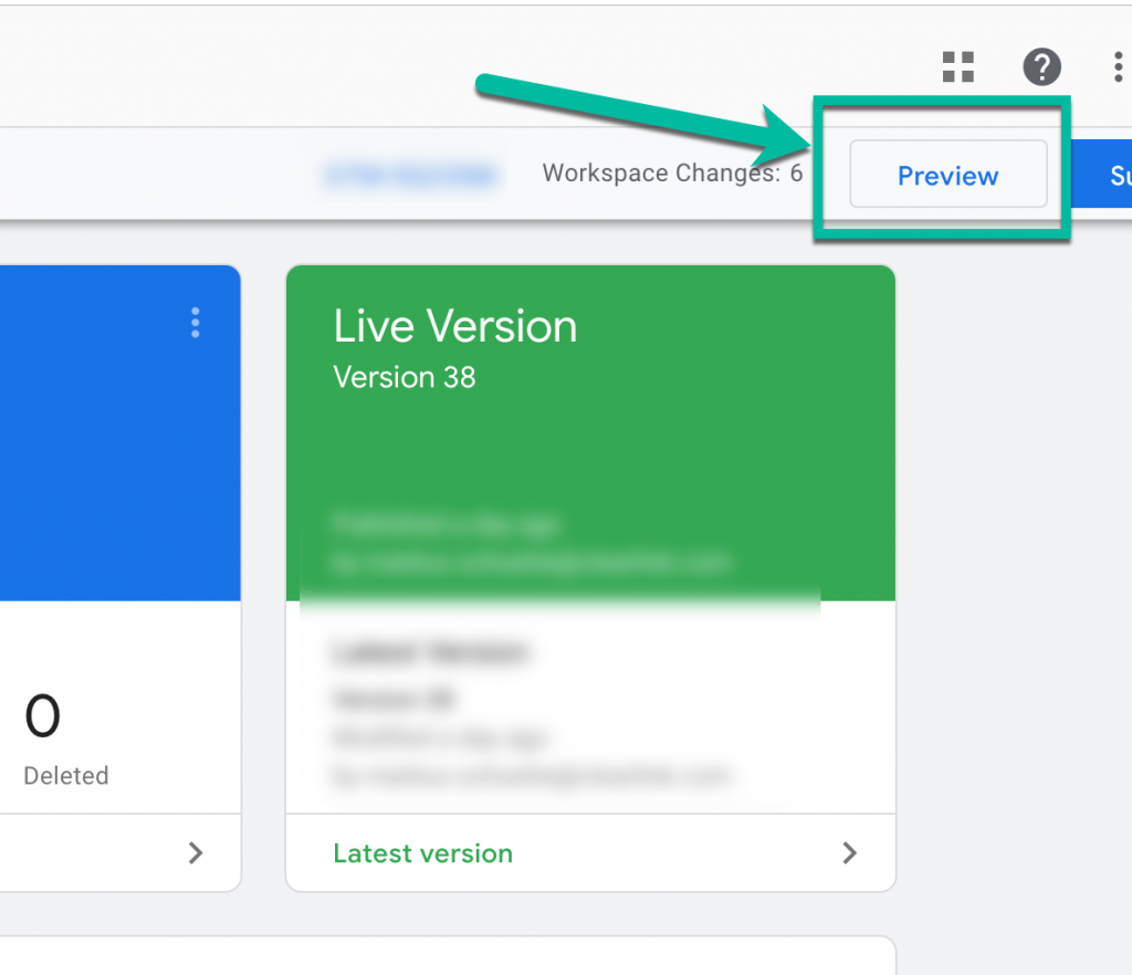 Screenshot showing how to find preview mode in GTM