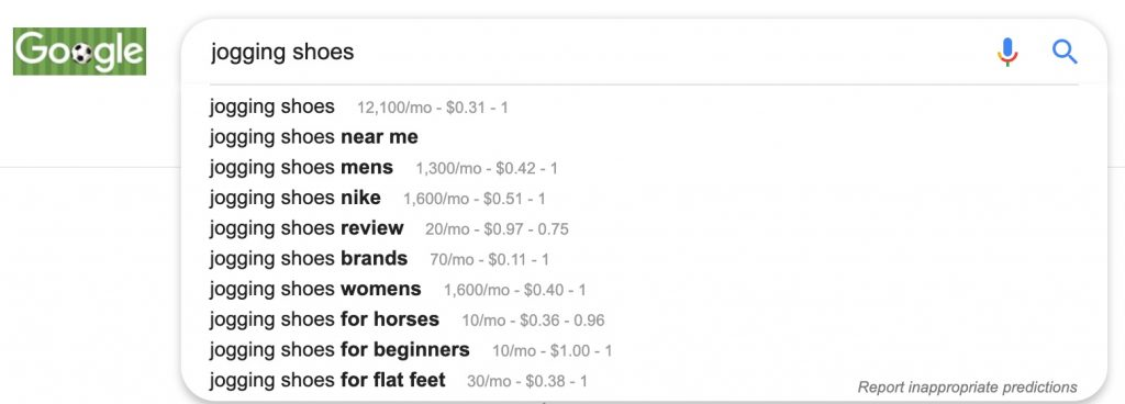 Screenshot of SERPs for Jogging Shoes