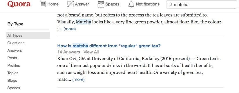 Screenshot of a search for matcha in Quora