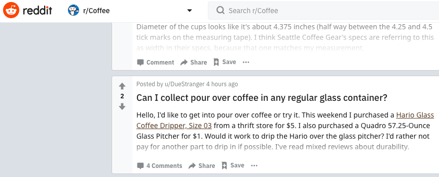 Screenshot of coffee search results in Reddit