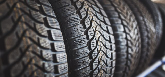 Close up photo of tire tread