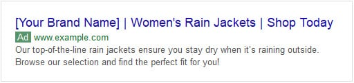Example of bad ad copy for rain jackets showing up in SERPs