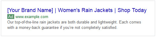Example of good ad copy for rain jackets showing up in SERPs