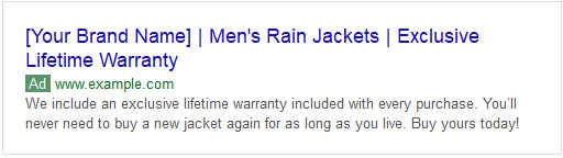 Example of bad ad copy with a bold claim for rain jackets showing up in SERPs