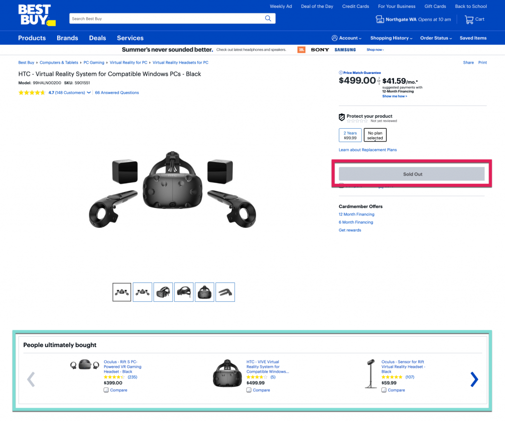 Screenshot of a good Out of Stock Product With Recommendations from Best Buy