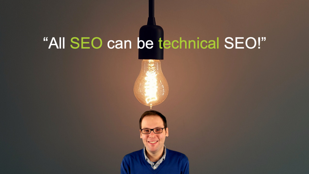 "Screenshot of slide from Paul Shapiro's presentation that says ""all SEO can be technical SEO"""
