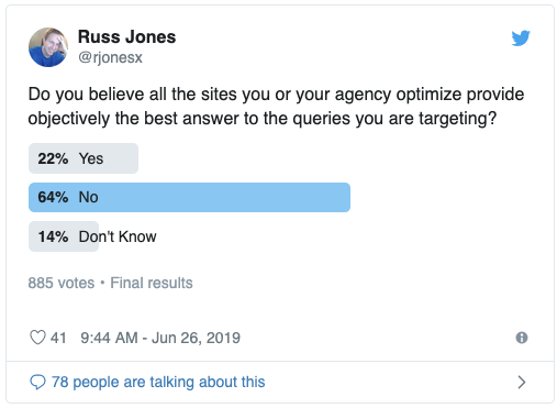 Screenshot of Twitter Poll from Russ Jones