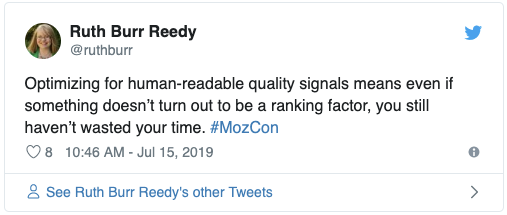 Screenshot of Tweet from Ruth Burr Reedy about human-readable quality signals