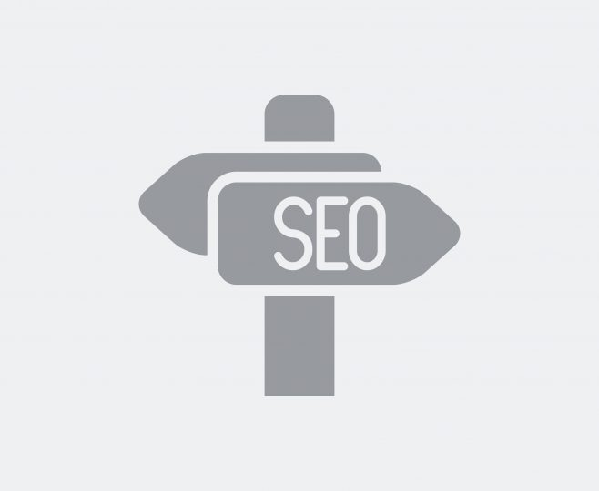 Illustration of a directional sign indicating that SEO is to the right