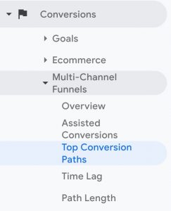 Screenshot showing where to locate the top conversion paths in Google Analytics