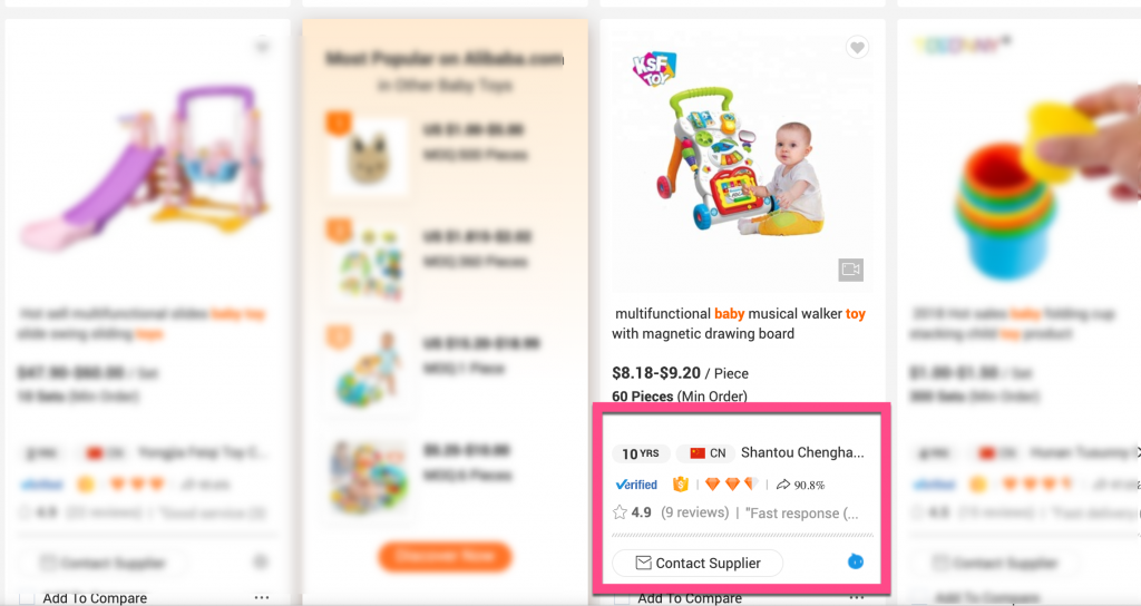 Screenshot example of too much information on an Alibaba product listing page