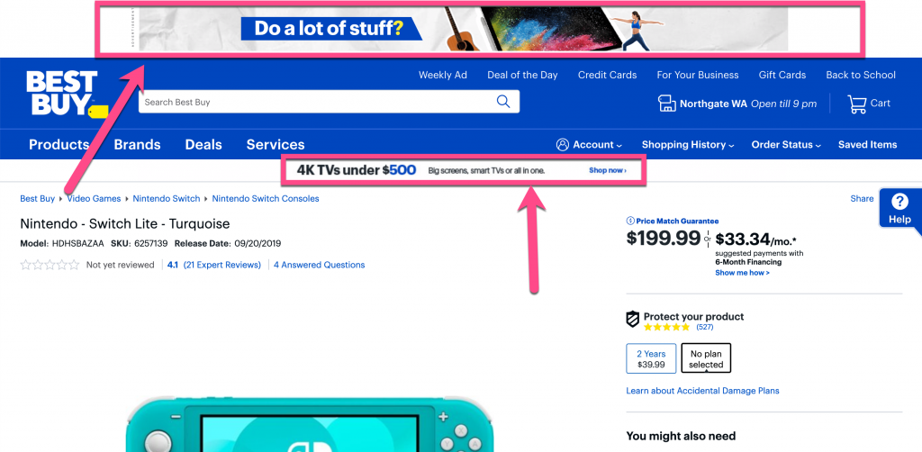 Screenshot example showing a featured deal and banner as distractions on a product page