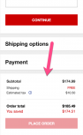 Screenshot example showing an opportunity to include static product info during Macy's checkout process