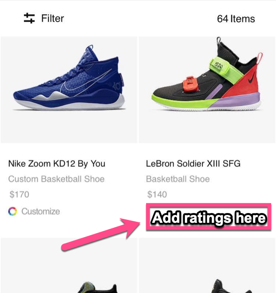 Screenshot example from a Nike product page with an suggestion on where to include product ratings