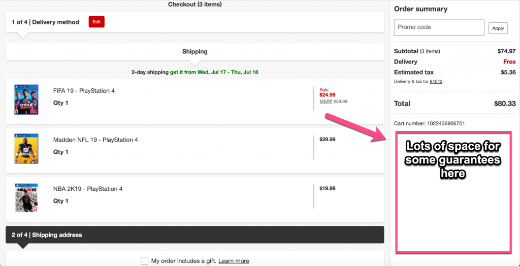 Screenshot example of an order summary page from Target that lacks any policy or guarantee information