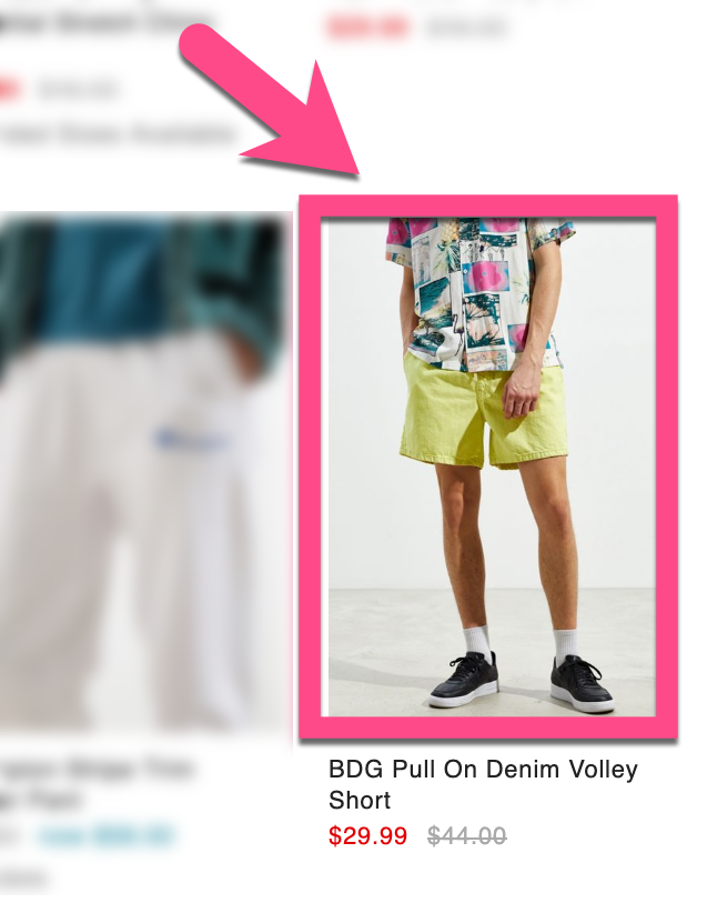 Screenshot example of a distracting shirt in an Urban Outfitters product card for shorts