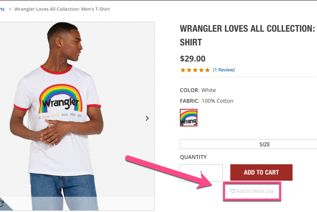 Screenshot example showing a lack of social proof of why a Wrangler product is valuable