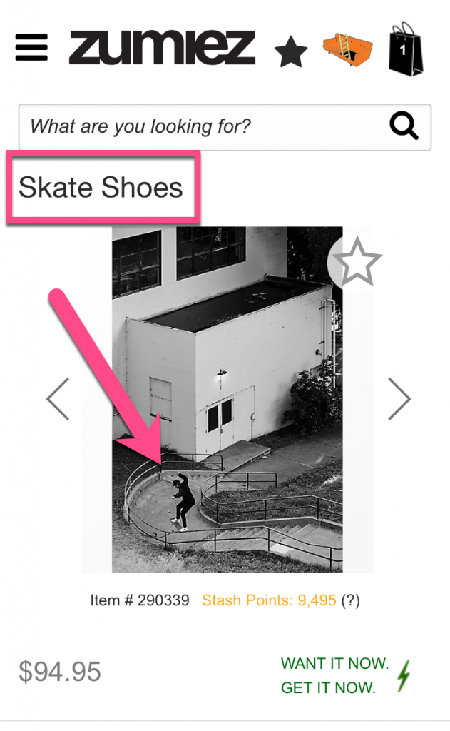 Screenshot example of a poor product in action picture from Zumiez
