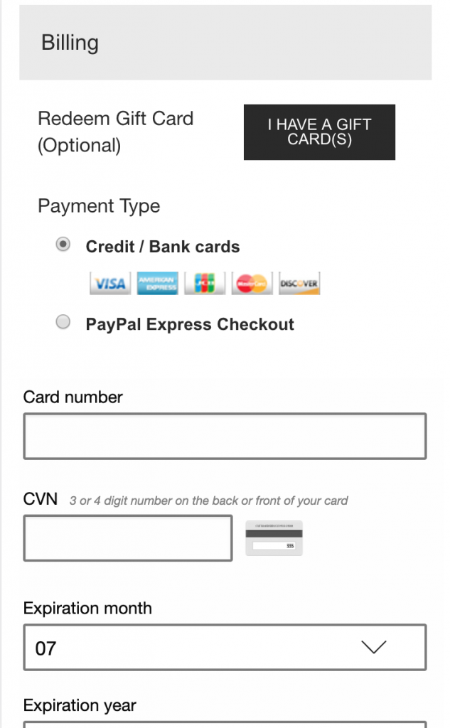 Screenshot showing a lack of trust badges on the credit card input section of Zumiez checkout page