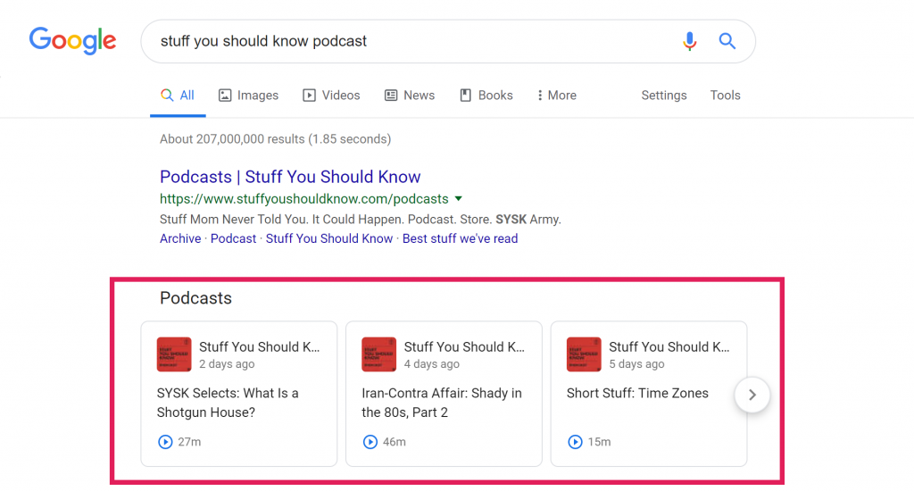 "Screenshot of Google search results for ""stuff you should know"" podcasts"