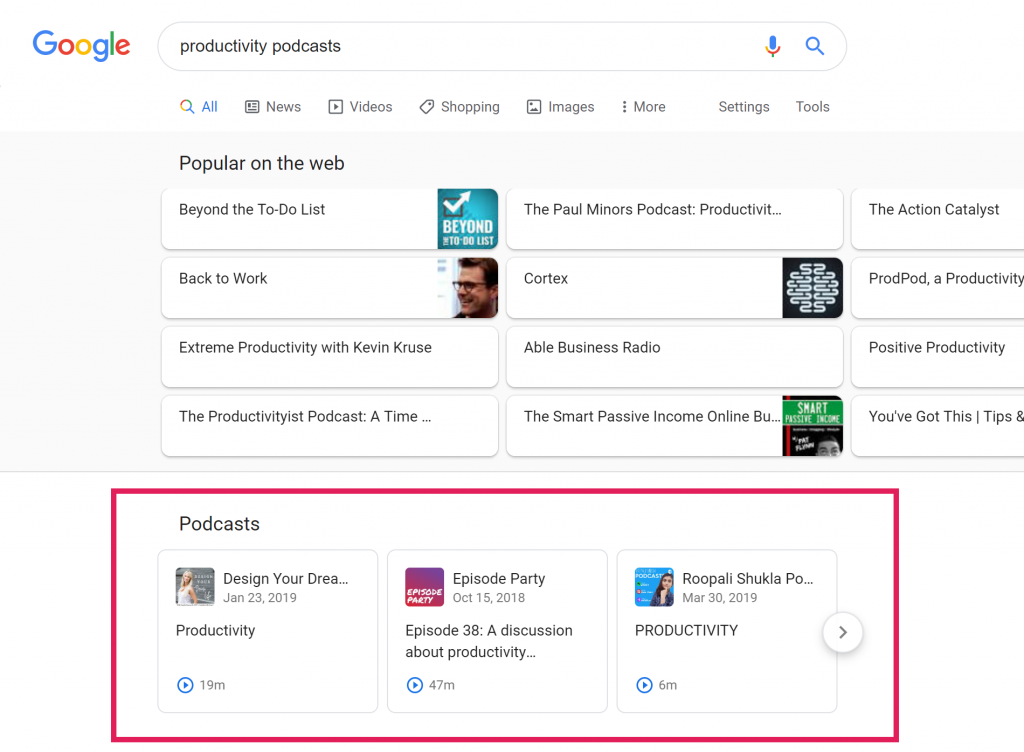 "Screenshot of Google search results for ""productivity"" podcasts"