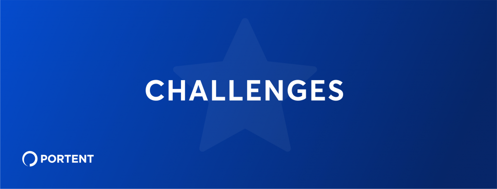 Graphic of a blue box with a star in the middle and the word challenges nside