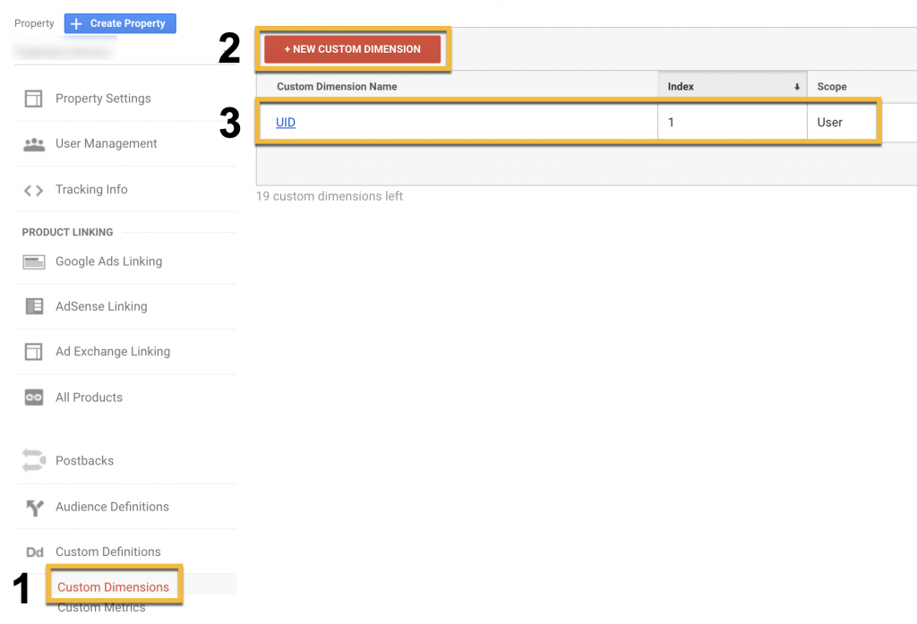 Screenshot showing the steps to create custom dimensions in Google Analytics