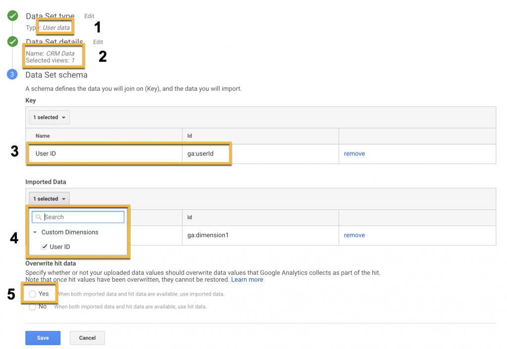 Screenshot showing the steps to create a data set with dimensions from your CRM in Google Analytics