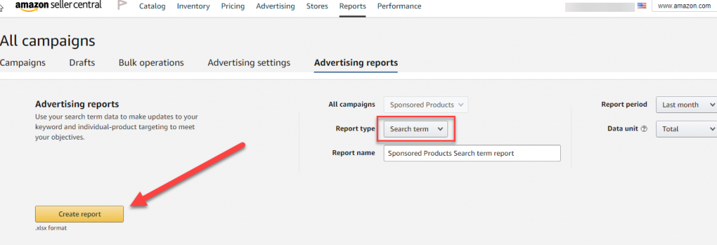 Explanation on how to create a search term report