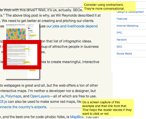 Example of marked-up screen captures showing good and bad edits, used to support your content strategy best practices