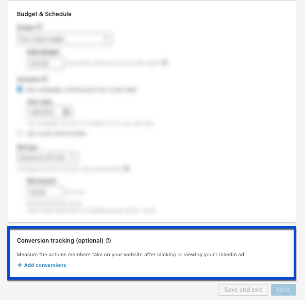 Screenshot showing where to find the conversion tracking option in LinkedIn