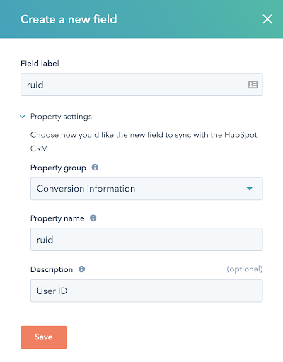 Screenshot showing how to customize your HubSpot forms to capture UIDs