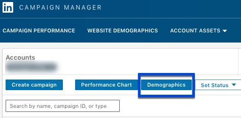 Screenshot showing how to locate LinkedIn's Demographics tool