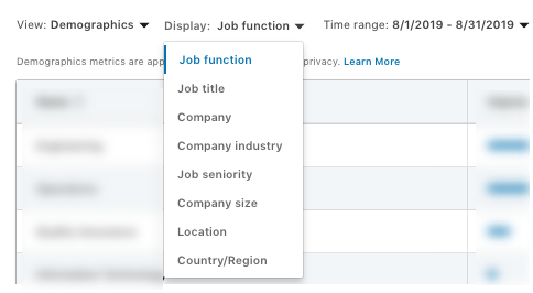 Screenshot showing LinkedIn's Demographics tool options