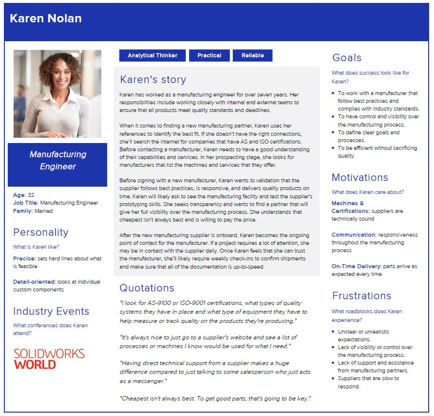 Sample client persona that includes demographic information as well as goals, motivations, and frustrations