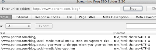 Screenshot showing Screaming Frog folder set up